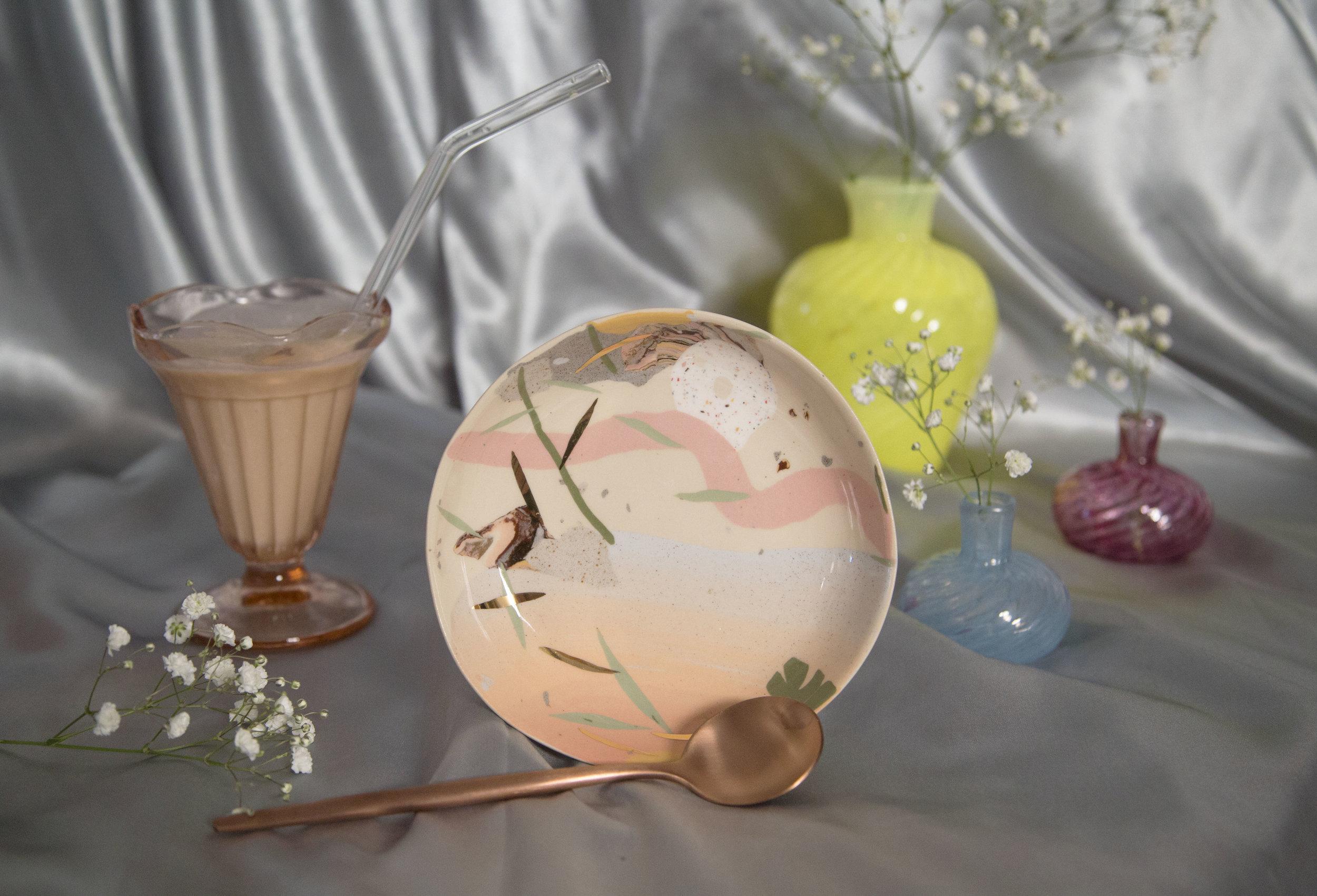 Assiette en nerikomi dégradé soleil couchant, copyright Lloma