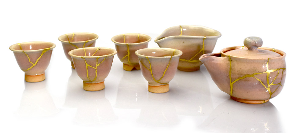 Kintsugi par service à thé, Myriam Greff, kintsugi.fr
