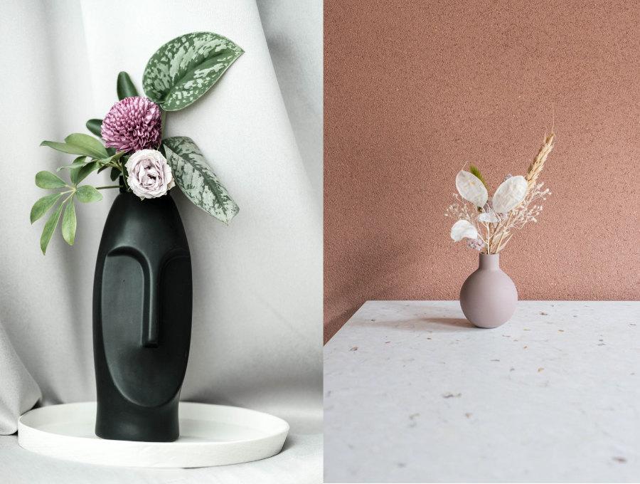 présenter ses poterie avec des plantes