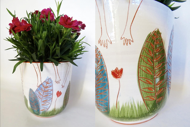 Vase plante en faïence - Amandine Daviet, céramiste
