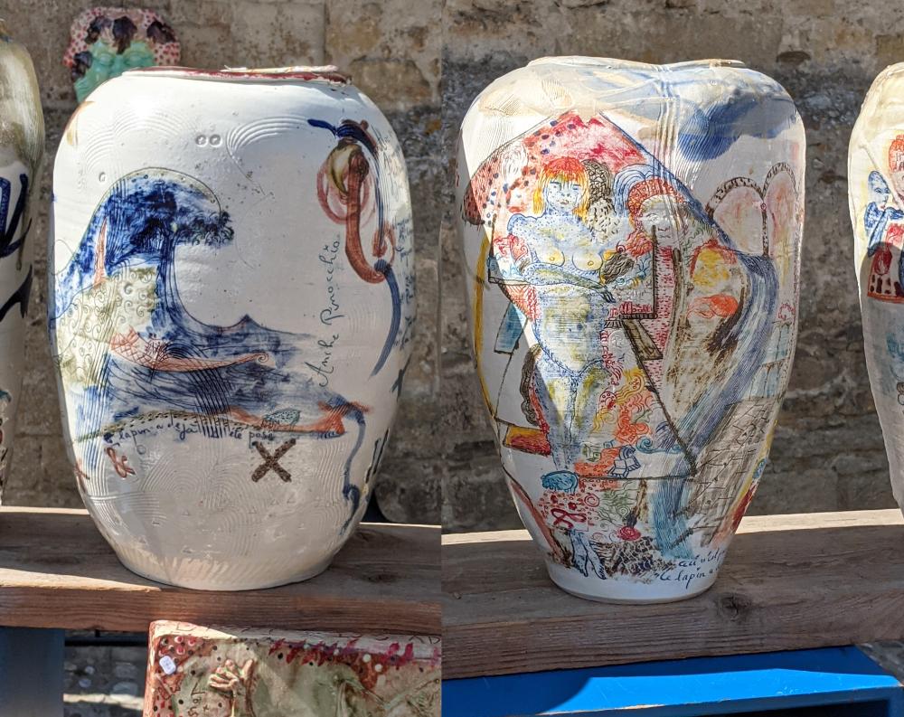 thierry basile vases porcelaine au marché de potiers de Mirepoix